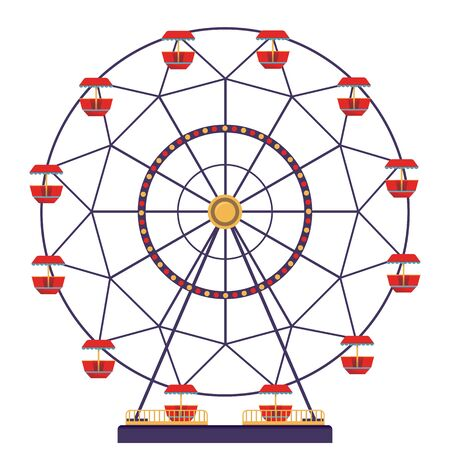 Panoramic wheel isolated on white background. Carnival icon in flat style.Vector illustration.