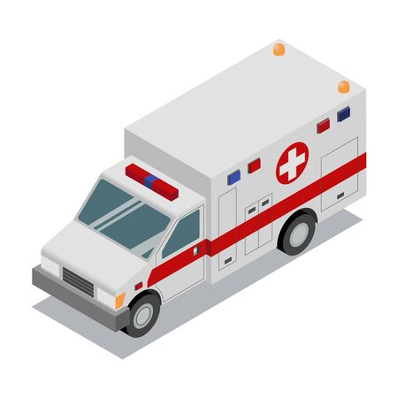 Isometric Ambulance van. Isolated vector illustration. Accident Ambulance Aid Service. Element for infographics, banner, web. Vector Illustration
