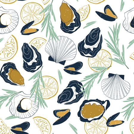 Vector seamless seafood pattern on white background. Hand drawn oysters, mussels, scallops, lemon slices and rosemary. Ilustração