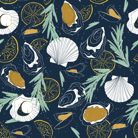 Vector seamless seafood pattern on deep blue background. Hand drawn oysters, mussels, scallops, lemon slices and rosemary. 向量圖像