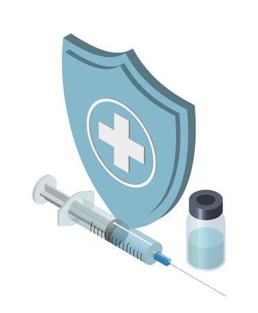 Vaccination concept. Can use for web banner, infographics. Flat isometric vector illustration. Syringe with vaccine and bottle.