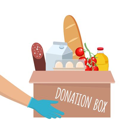 Food donation box vector with different food in it. Hands giving box. Delivery of the product during quarantine. Flat vector illustration isolated on white background.