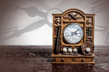 wooden clock: The antique wooden clock with baseball theme