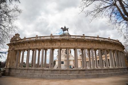 parque del buen retiro: Madrid, Spain february 22, 2014: Alfonso XII monument in Buen Retiro park Editorial
