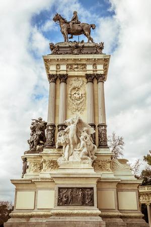 parque del buen retiro: Madrid, Spain, february 22, 2014: Alfonso XII monument in Buen Retiro park Editorial