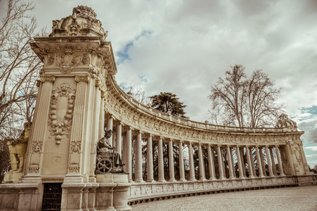 punting: Madrid, Spain - february 22, 2014: Historical monument in Buen Retiro park Editorial
