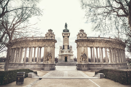 parque del buen retiro: Madrid, Spain - february 22, 2014: Alfonso XII monument in Buen Retiro park
