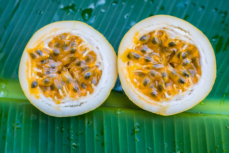 Passion fruit on banana leaf