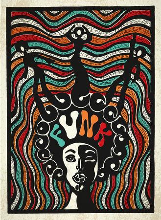 ファンク音楽ポスター。ファンク音楽の刻まれた明るいポスター。  イラスト・ベクター素材