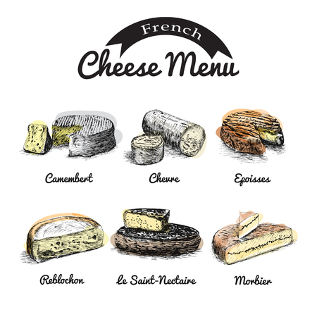 brie: illustrated Set # 1 of French Cheese Menu. Illustrative sorts of cheese from France. Illustration