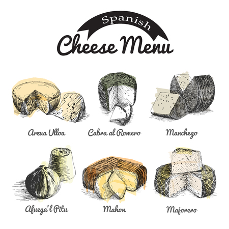 siesta: illustrated Set # 2 of Spanish Cheese Menu. Illustrative sorts of cheese from Spain