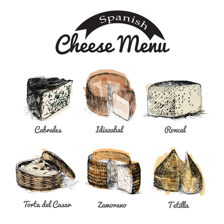 siesta: illustrated Set # 1 of Spanish Cheese Menu. Illustrative sorts of cheese from Spain
