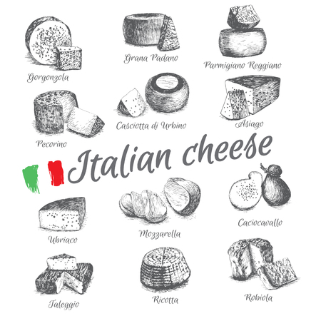 illustrated Set # 4 of Italian Cheese Menu. Illustrative sorts of cheese from Italy