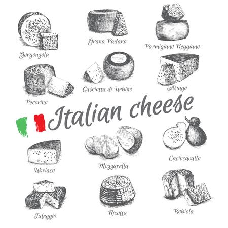 geïllustreerde Set # 4 van Italiaanse Kaas Menu. Illustratief soorten kaas uit Italië