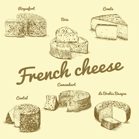 illustrated Set # 3 of French Cheese Menu. Illustrative sorts of cheese from France.