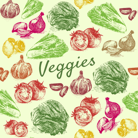 limon: Hand drawn colorfull illustration vegetables on green background