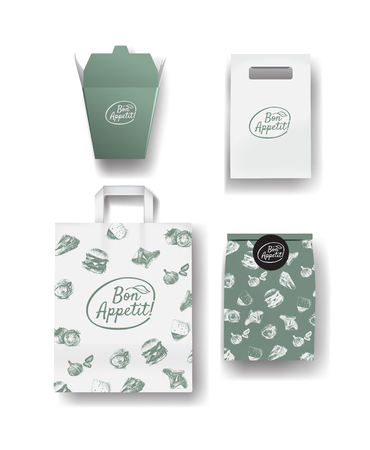 paper bags: restaurant cafe set: package and paper bags. Layout set of corporate identity.