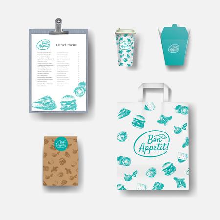 restaurant café set: tasses à café en papier, le menu, l'emballage, sac en papier. jeu de mise en page de l'identité d'entreprise. Maquette modèle.