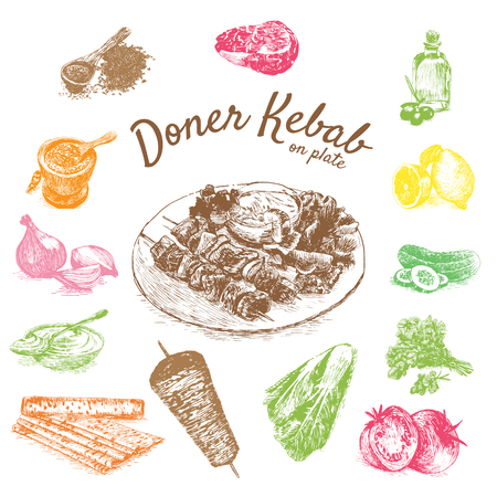 illustration of doner kebab ingredients. Hand drawn colorful illustration on white background