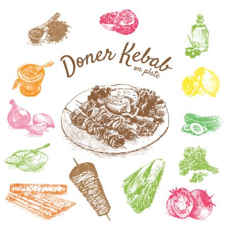 illustration of doner kebab ingredients. Hand drawn colorful illustration on white background
