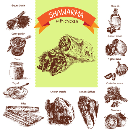 pita bread: illustration of shawarma ingredients with chicken. Hand drawn colorful illustration on white background Illustration