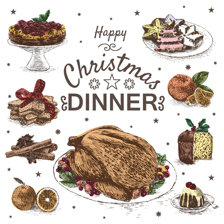 Vector colorful illustration with Christmas dinner menu. Different Christmas meals on white background