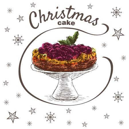Vector colorful illustration of Christmas cake with cherry. Christmas cake on white background with snowflakes