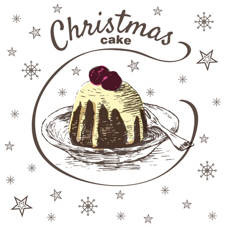 christmas cake: Vector colorful illustration of Christmas cake with cherry and glaze. Christmas cake on white background with snowflakes Illustration
