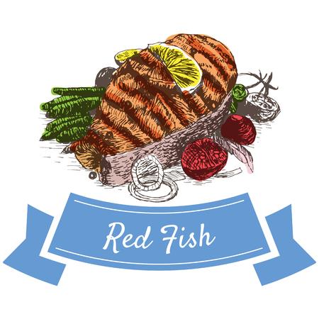 salmon fillet: Vector illustration colorful set with red fish. Illustration sort of seafood Illustration