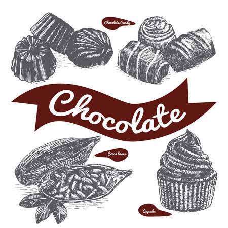 confectionery: Vector illustration black and white set with confectionery . Various kinds of confectionery on white background Illustration