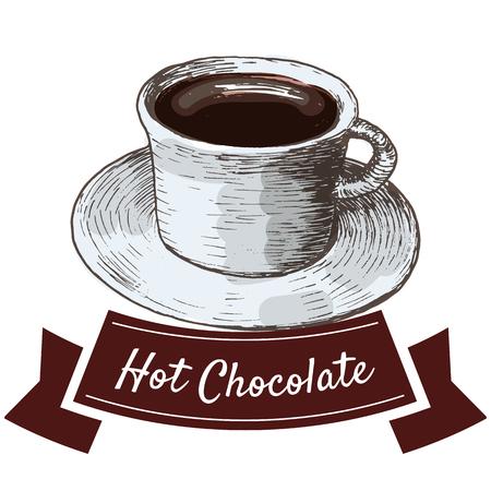 Vector illustratie kleurrijke set met warme chocolademelk. Illustratie van warme chocolademelk op een witte achtergrond