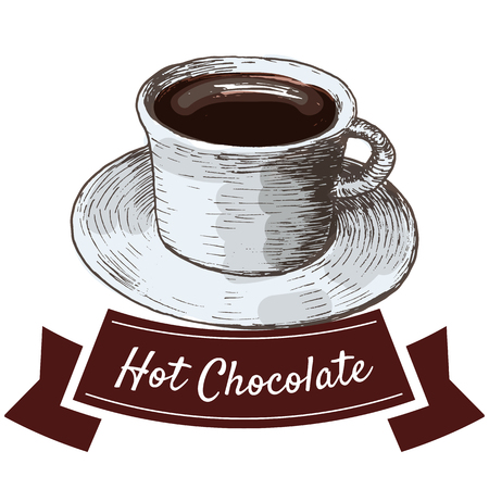 Vector illustration colorful set with hot chocolate. Illustration of hot chocolate on white background