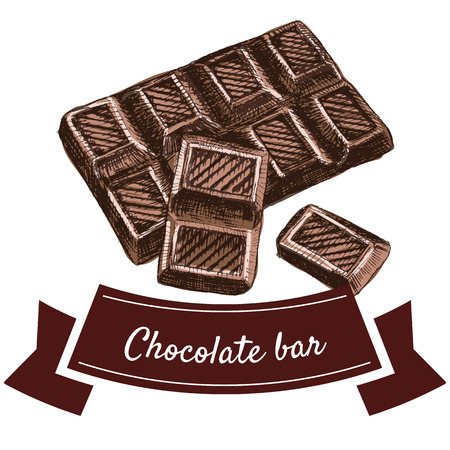ilustración vectorial colorido conjunto con barra de chocolate. Ilustración de los productos de chocolate en el fondo blanco Ilustración de vector