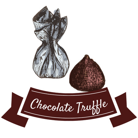 truffle: Vector illustration colorful set with chocolate truffle. Illustration various of chocolate candy products on white background Illustration