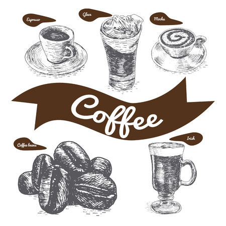 glace: Vector illustration black and white set with coffee. Various kinds of coffee on white background