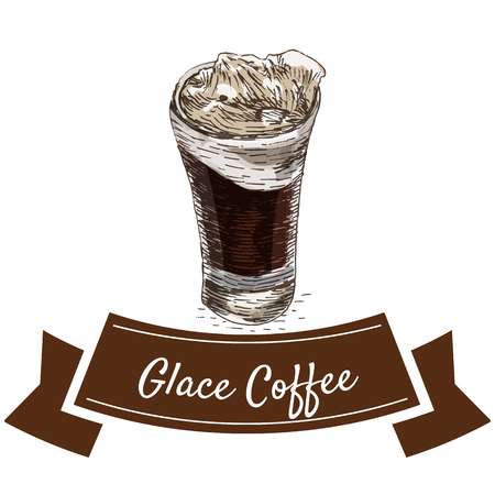 glace: Vector illustration colorful set with glace coffee. Illustration of coffee on white background