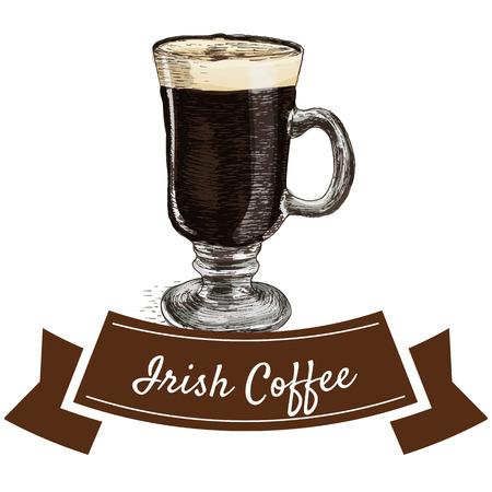 Vector illustration colorful set with Irish coffee. Illustration of coffee on white background Illustration