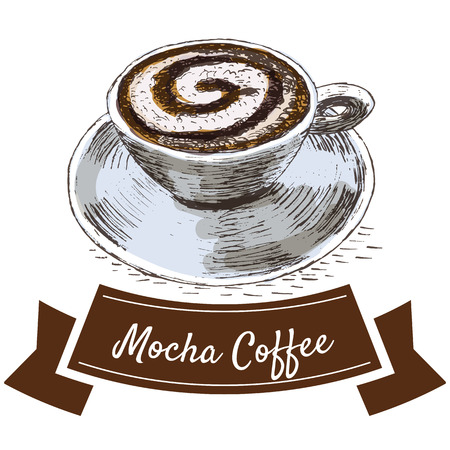 mocha: Vector illustration colorful set with mocha coffee. Illustration types of coffee on white background