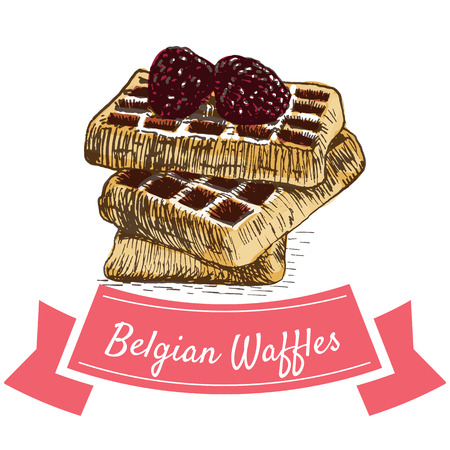 Vector illustration colorful set with Belgian waffles. Illustration various of bakery products on white background Illustration