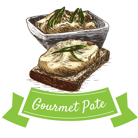 gourmet: Vector illustration colorful set with gourmet pate. Illustration of gourmet pate on white background Illustration