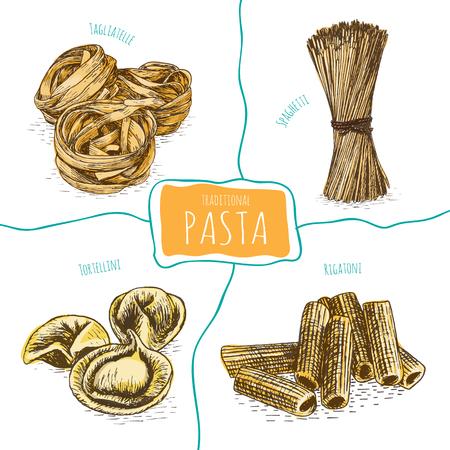 delightful: Pasta set illustration. Vector colorful illustration of Pasta. Illustration