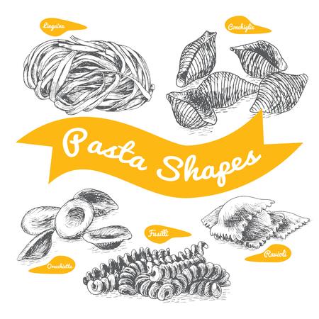 Pasta set illustration. Vector black and white illustration of pasta. Illustration