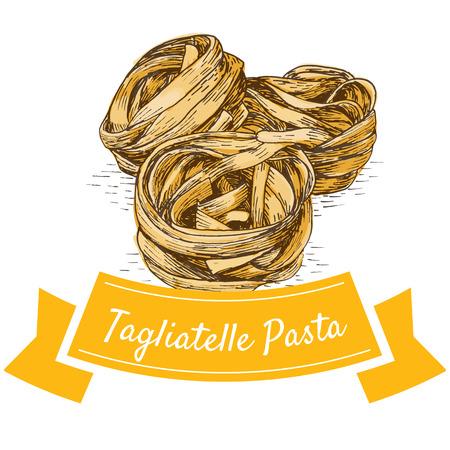 Tagliatelle pasta colorful illustration. Vector illustration of Tagliatelle pasta. Illustration