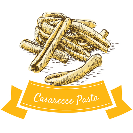 Casarecce pasta colorful illustration. Vector illustration of Casarecce pasta.