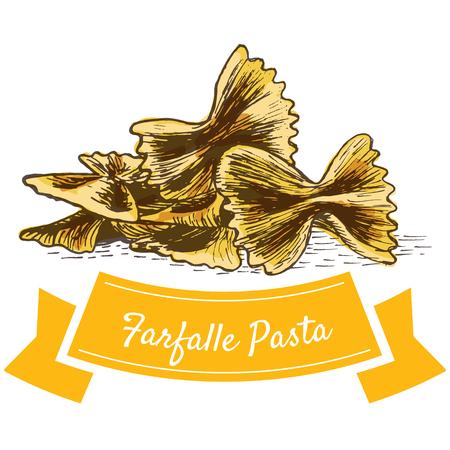 delightful: Farfalle pasta colorful illustration. Vector illustration of Farfalle pasta. Illustration