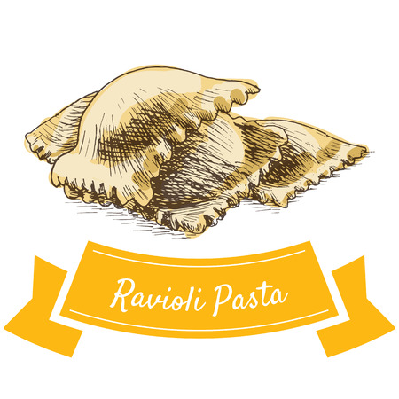 Ravioli pasta colorful illustration. Vector illustration of Ravioli pasta.