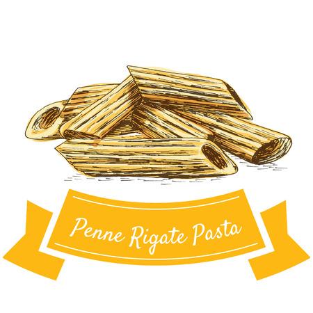 Penne Rigate pasta kleurrijke illustratie. Vectorillustratie van Penne Rigate-deegwaren.