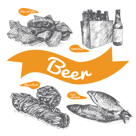 dried food: Draft beer and snack products illustration. Vector colorful illustration of beer and snack product