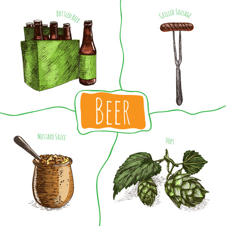 german food: Beer and snack products illustration. Vector colorful illustration of beer and snack product