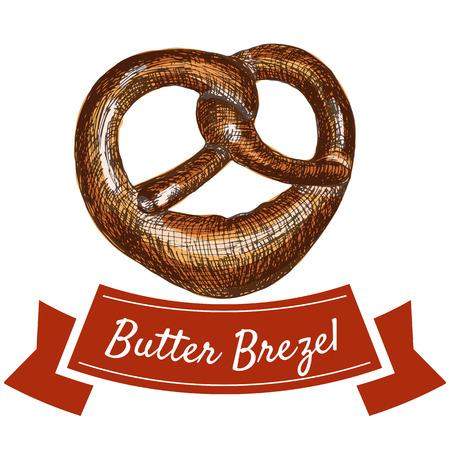 pleasing: Butter brezel illustration. Vector colorful illustration of butter brezel.